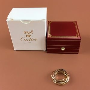 Preowned Cartier Tricolor 18k 7 Band Trinity Ring